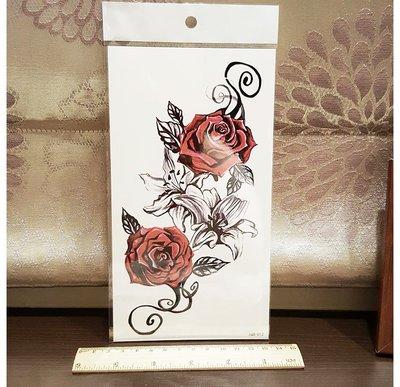 【萌古屋】紅玫瑰花朵手臂大圖 - 男女防水紋身貼紙刺青貼紙 K00