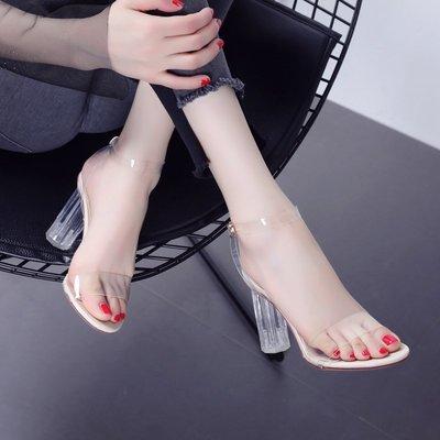 高跟 涼鞋 正韓版透明一字扣帶粗跟露趾...