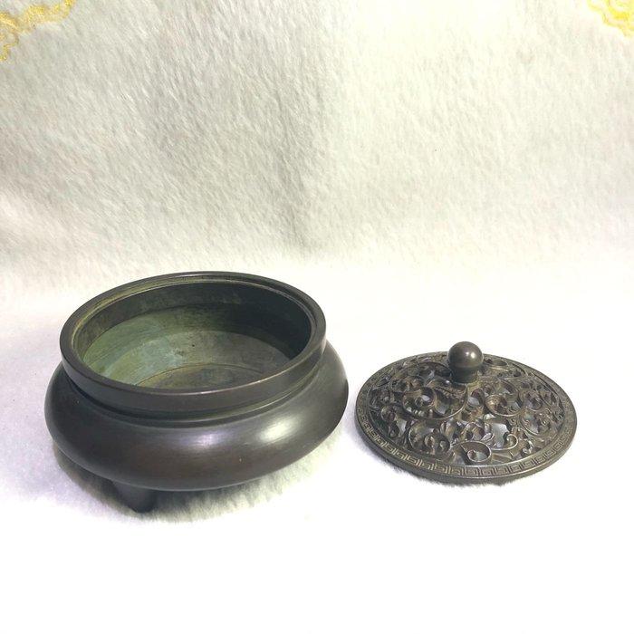 三足銅爐 大明宣德年製 古玩收藏可開光銅器純銅風水擺件  鎮宅 招財 青銅回紋香爐