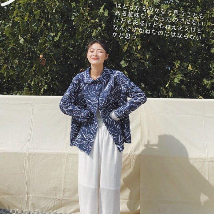 【鈷藍家】日雜風原創藏藍底印花襯衫女設計感小眾亞麻樹葉印花娃娃領上衣小外套女秋季