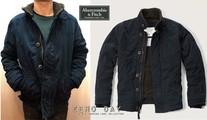 A&F真品Abercrombie&Fitch SHERPA LINED UTILITY JACKET鋪毛立領軍外套大衣藍