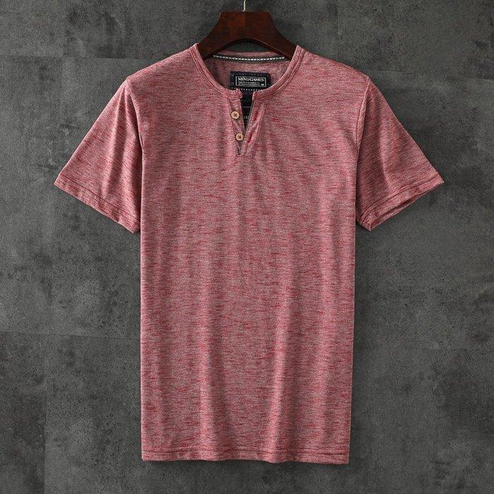 夏季服飾 夏季女裝短袖T恤日系半袖男門筒亨利領系扣夏天男士短袖t恤新款潮流個性潮牌