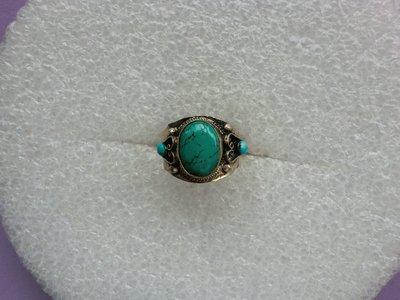 西藏老戒:鑲藍色綠松石2