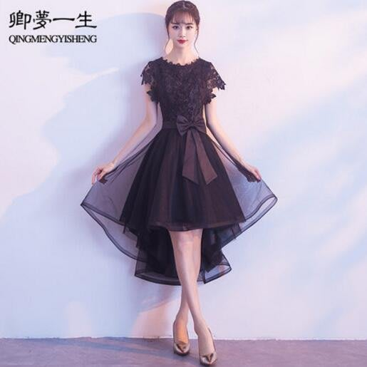 黑色晚禮服 新款前短後長宴會高貴優雅公司年會主持人連身裙 洋裝—莎芭