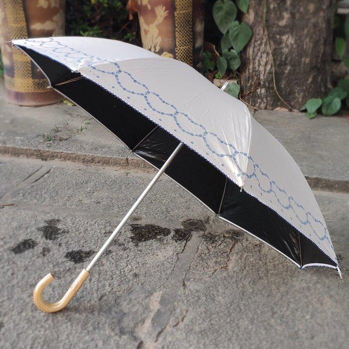 奇奇店-黑膠防曬小洋傘心形小花邊輕量鋁合金傘骨木頭編藤傘柄晴雨傘#加固 #小清新 #晴雨兩用