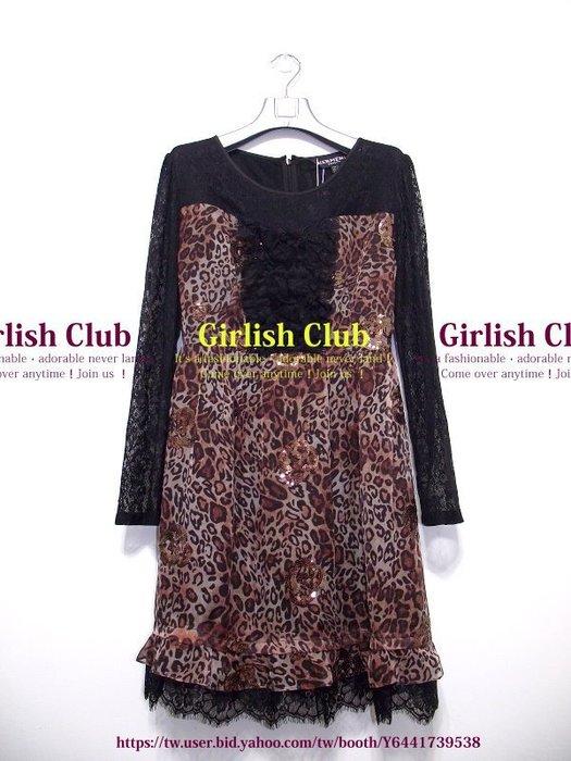 【Girlish Club】專櫃赫曼妮豹紋睫毛蕾絲洋裝L吊牌9980(m612)韓國sz iroo 貝爾尼尼八三一元起標