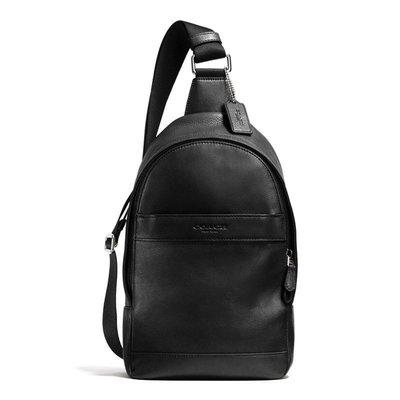 軒軒小店 全新 COACH 71751 黑色 素面真皮 單肩後背包 書包 休閒包