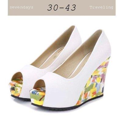 36碼[24HR出貨現貨]大尺碼女鞋小尺碼女鞋幾何油畫壓紋素面魚口厚底楔型鞋白色(30-43)#七日旅行