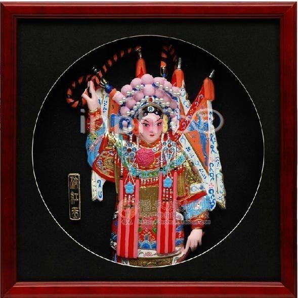 INPHIC-梁紅玉 國粹京劇人物冷瓷浮雕相框式裝飾擺飾 中國風商務出國