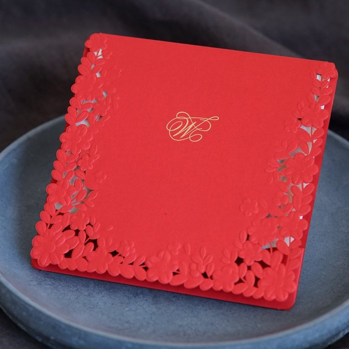 衣萊時尚-熱賣款  結婚請柬創意新款紅色請帖喜帖婚禮邀請函 XD29