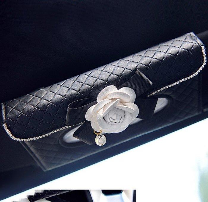 創意汽車用紙巾盒抽車載車內車上天窗遮陽板皮革掛式餐巾紙