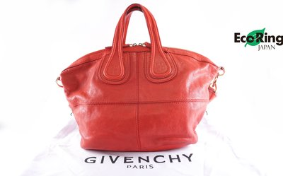 [Eco Ring]*Givenchy 2 Way Bag Nightingale Red Leather MA1104*Rank B-207001913-
