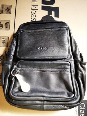 【H-CT】A.K中性多拉鍊層設計真皮後背包(AK8281-Z)-黑色