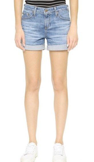 ◎美國代買◎AG The Hailey Ex Boyfriend 波紋淺藍刷色色反摺褲管高腰男朋友牛仔短褲
