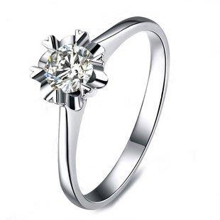 經典雪花款 18K白金0.5克拉鑽戒(莫桑石 摩星鑽 鑽石 裸石) GIA驗證 鑽石品質