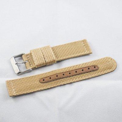 日本進口尼龍錶帶,卡其色,不鏽鋼錶釦,18mm