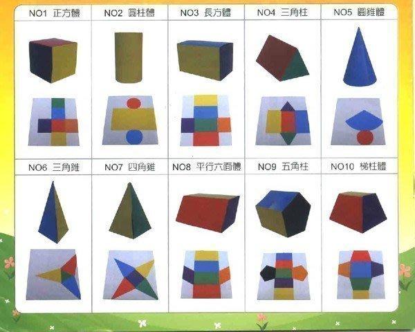 數學教室【U-Bi小舖】 簡易立體幾何厚紙細工/套(10款各1張)《輔助面→體的學習》