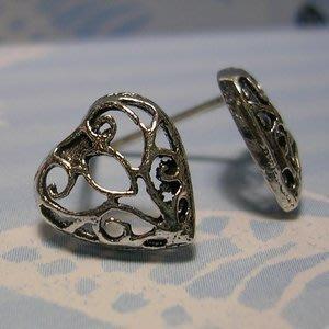 琥珀貓銀飾DIY【925純銀飾品】耳飾~耳針~N9953~鏤空愛心~一對