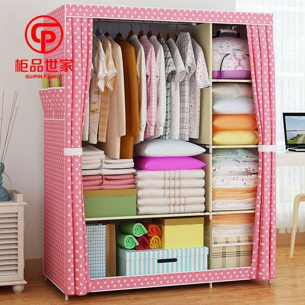 衣櫃簡易布衣櫃布藝加粗加固鋼架組裝摺疊衣櫥收納簡約現代經濟型禮物