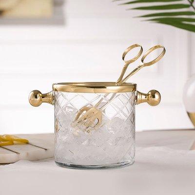 進口手工黃銅玻璃冰桶帶冰夾餐桌晏會香檳酒紅酒酒具