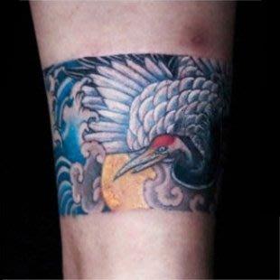 【萌古屋】浮世繪風格紅頂鶴環形圖 - 防水紋身貼紙手臂腳踝環形刺青貼紙A42 K72