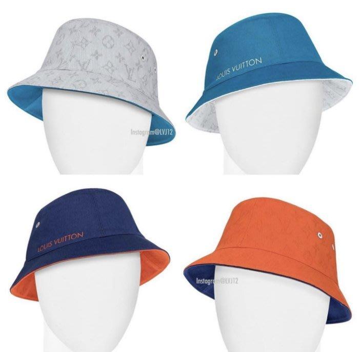 Louis Vuitton M76210 ESCALE Monogram Bucket Hat 漁夫帽 橘/藍