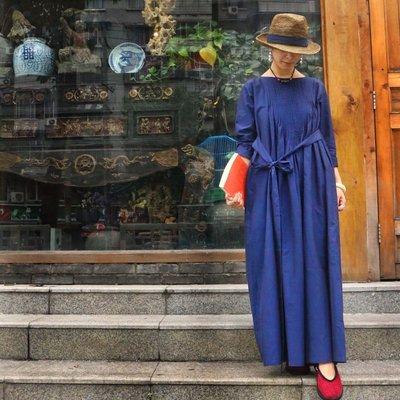 秋裝高級棉質前後風琴摺繫帶寬鬆連衣裙(老銀屋)