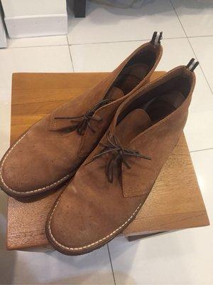 真品bally沙漠靴麂皮。橡膠底。 義大利製10/5號真皮牛皮