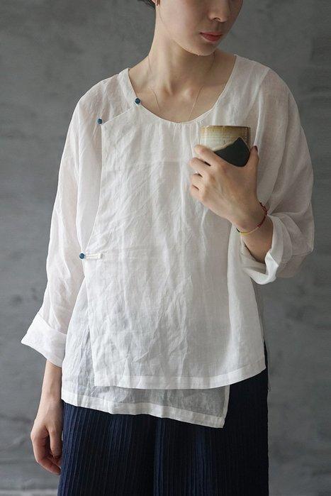 【子芸芳】中國風苧麻襯衫 文藝斜襟 輕中式禪意上衣