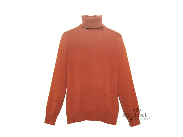 My Closet 二手名牌 Loro Piana 磚紅色 100% Baby Cashmere 高領套頭毛衣