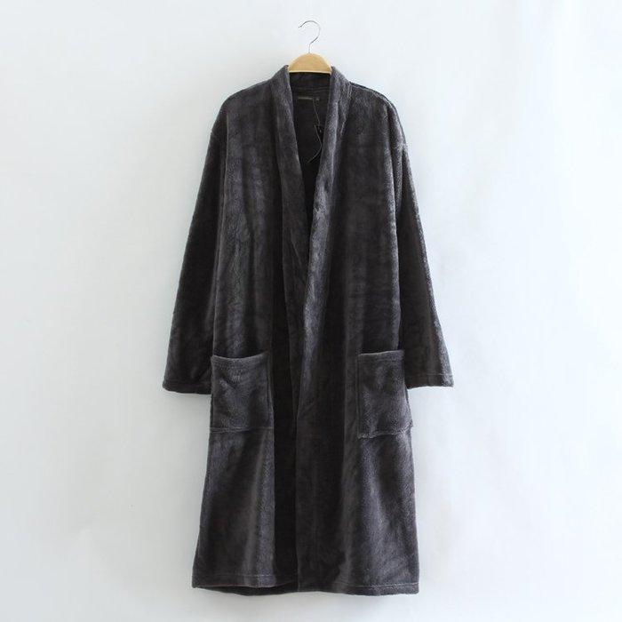 香港OUTLET代購 歐美品牌 珊瑚絨浴袍 加厚 保暖 睡袍 中長款 居家服 經典款法蘭絨 睡衣 煙灰色