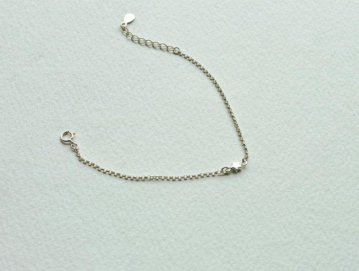 [Le Bonheur Line] 幸福線 手工/銀鏈款 超小 925銀雙環星星/紅線手鍊 禮物 銀鍊 迷你 低調 鎖骨