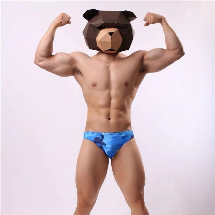 【OTOKO Men's Boutique】 OTOKO:迷彩低腰三角泳褲/藍色/日曬適用/沙灘適用/游泳適用