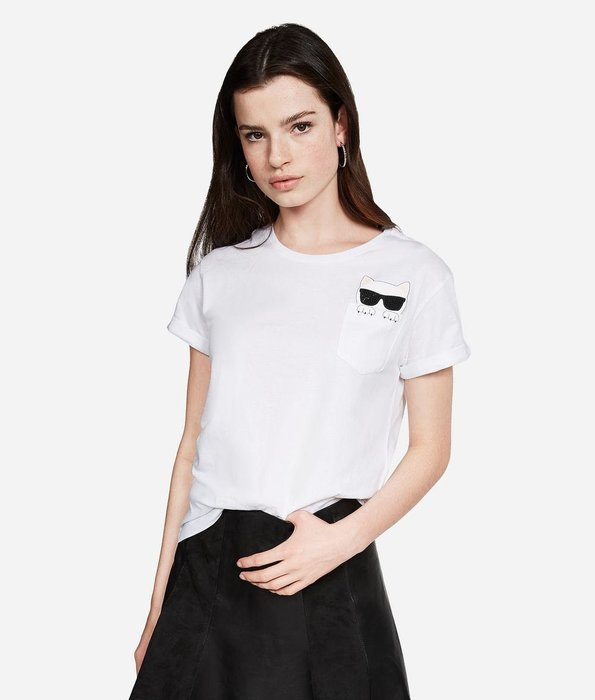 [預購XS-L] Karl Lagerfeld 女成Queen-ka-boo版卡爾愛貓小口袋短袖T恤 白/藏青/黑三色 運費優惠 其他尺寸款式可留言詢問