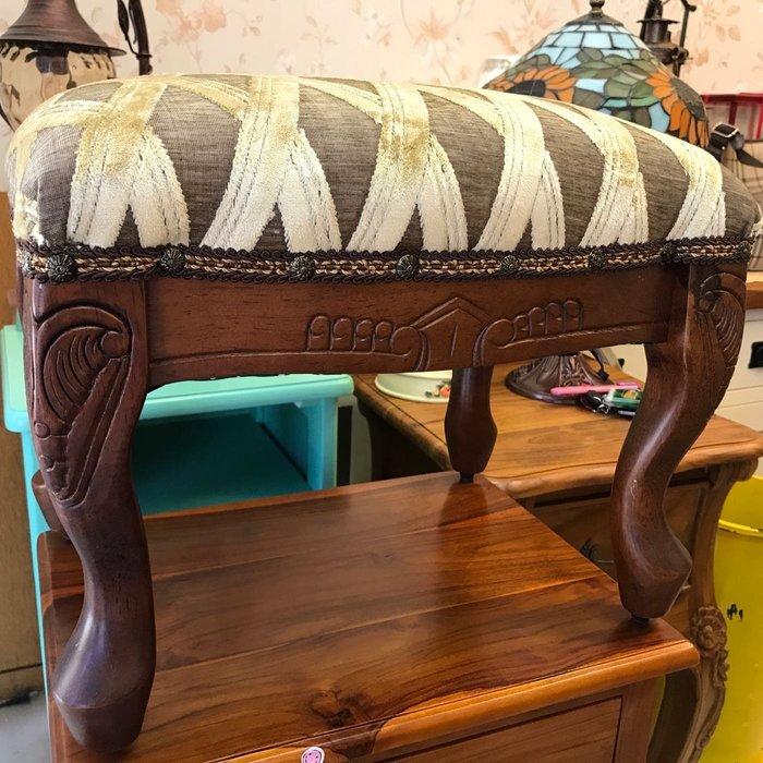 桃花心木雕刻小椅 彫刻虎腳凳 原木 洗白
