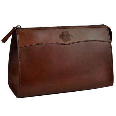 【英國James Purdey & Sons】Oak Bark Leather 皮革盥洗包 (大) 皮革手拿包 防水內裡