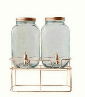 7L/7公升/7000cc雙罐復古玻璃罐水龍頭附架梅森罐梅森壺果汁罐飲料罐冷飲罐分裝瓶
