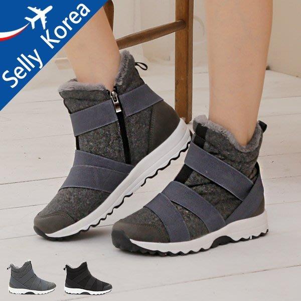 正韓 雪靴 交叉繃帶 運動鞋  毛毛 靴-Selly-沙粒-(KR210)2色