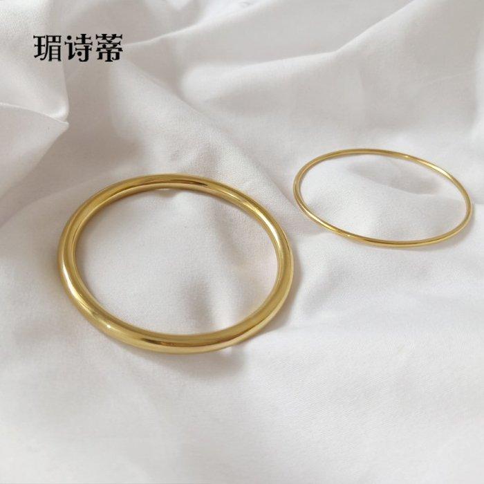 Lissom韓國代購~光面素圈鍍18k金細手鐲子女 小眾 冷淡風氣質粗鈦鋼手環金色禮物