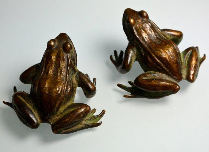 [天地居] 銅制青蛙擺件 一對合拍