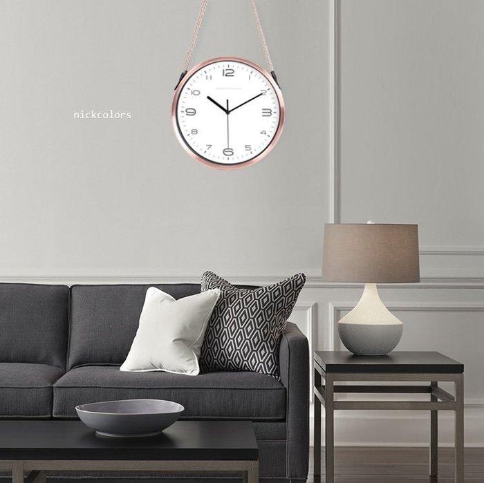 尼克卡樂斯~北歐風麻繩設計掛鐘 靜音時鐘 復古工業風掛鐘 歐洲鄉村風時鐘 客廳時鐘 臥室時鐘 咖啡廳掛鐘