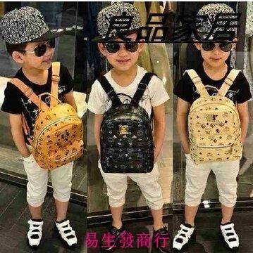 【易生發商行】兒童新品韓國同款潮包男女兒童鉚釘雙肩背包書包時尚潮F6199