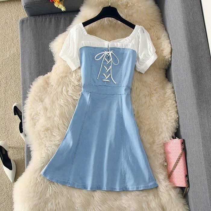 牛仔洋裝 半身裙 A字裙 時尚套裝連衣裙牛仔氣質顯瘦A字裙綁帶顯瘦中裙潮