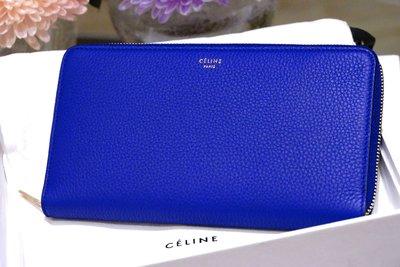 Celine 101873 Large Zipped Wallet 大型荔枝紋拉鍊長夾 Indigo 藍 現貨