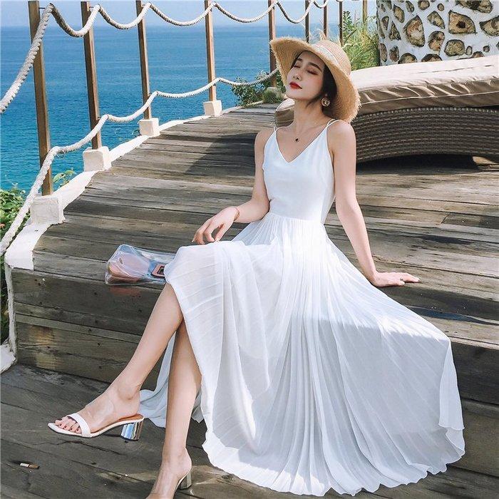 波希米亞E8667沙灘裙性感露背連衣裙白色雪紡禮服/大碼休閒寬鬆時尚顯瘦修身設計款防曬禪風連身裙民族風復古單正品日韓款外