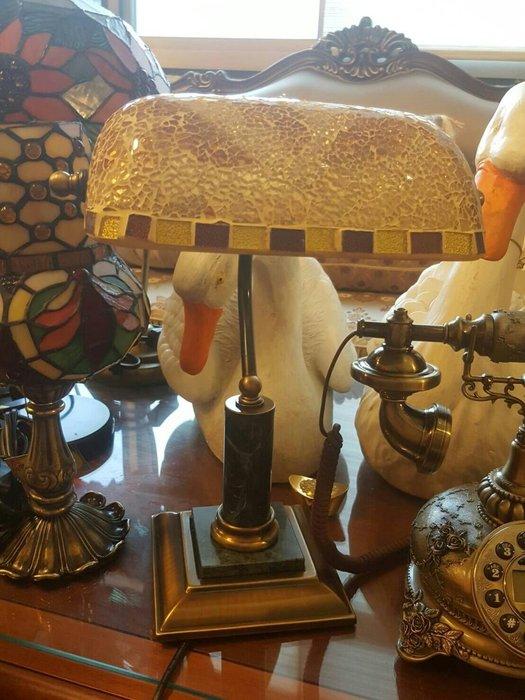 馬賽克玻璃檯燈 銀行燈 美式鄉村風桌燈  復古檯燈   床頭閱讀燈