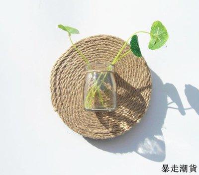乾花 園藝裝飾 diy裝飾 創意壁飾創意水培植物許愿瓶掛飾創意立體墻飾掛飾創意麻繩圓木片