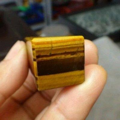 天然玉化黃金虎眼石 方形印章
