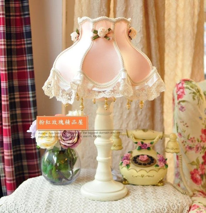 粉紅玫瑰精品屋~粉色蕾絲公主枱燈~