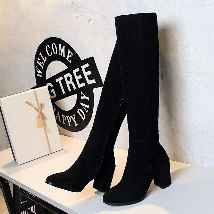 999長靴 短靴 雪靴 馬丁靴  機車靴秋冬新款歐美真皮粗跟女高筒靴磨砂皮高跟長靴全牛皮顯瘦靴子